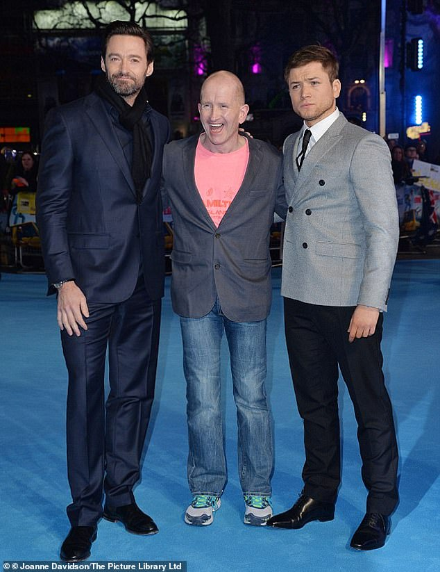 Amazing:In 2016, Taron Egerton and Hugh Jackman starred in a film based on the sporting legend called Eddie The Eagle (pictured together in 2016 at the premiere in London)