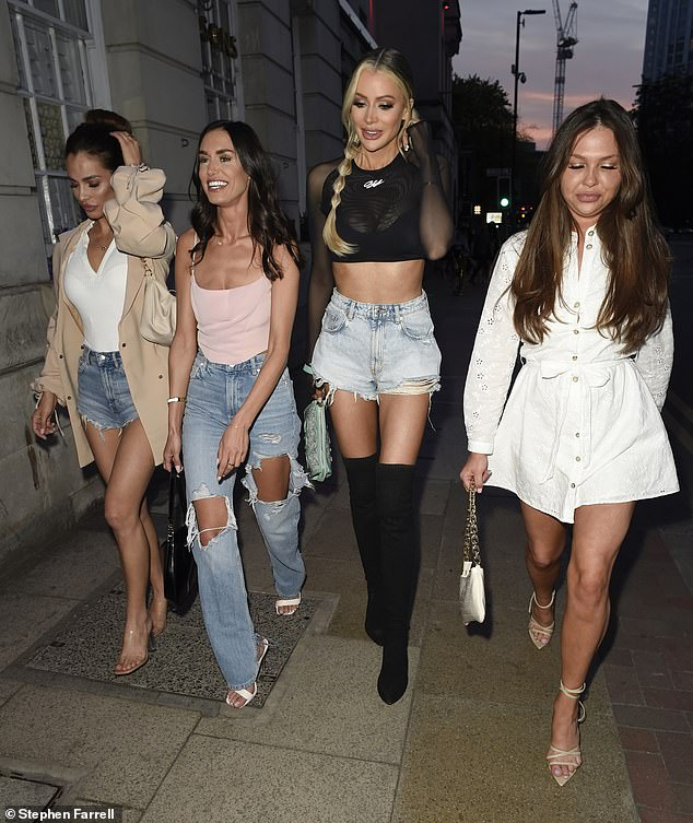 Girls night: Olivia Attwood, 30, proved there's no bad blood with her former TOWIE co-stars as she invited them up north for a night out in her local area on Tuesday (L-R) Nicole Bass, Clelia Theodorou, Olivia andFran Parman