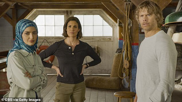TV actor: Olsen, 44, has starred on NCIS: Los Angeles for 12 seasons (Pictured with Medalion Rahimi and Daniela Ruah