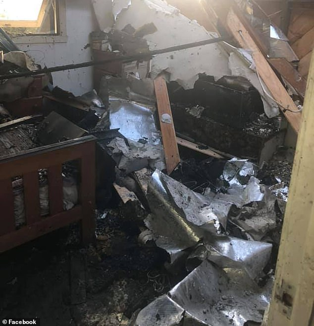 The mother-of-two explained the fire had been sparked by an old style bar heater, which went on to cause irrevocable damage throughout the unit (pictured)