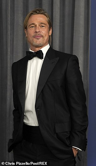 Brad Pitt pictured backstage at LA Union Station where the Oscars were held on April 25