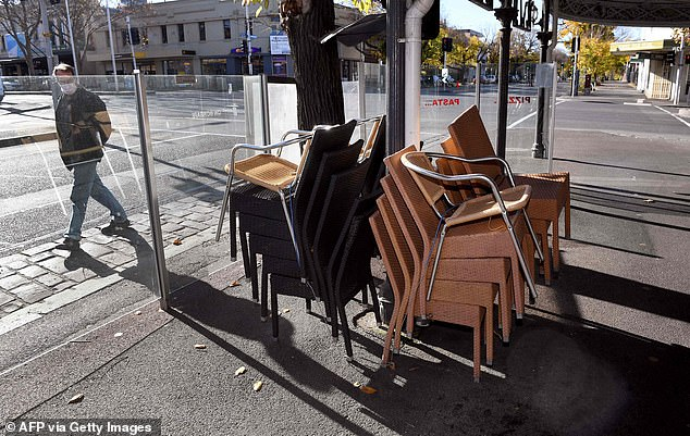 Restaurants, pubs, and cafes in Melbourne can provide takeaway only but can open for dining in regional Victoria (pictured, a closed cafe in the city on Wednesday)