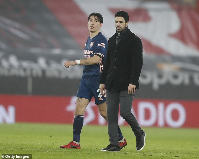 Mikel Arteta (front) is eyeing new options at Arsenal with Hector Bellerin's future uncertain