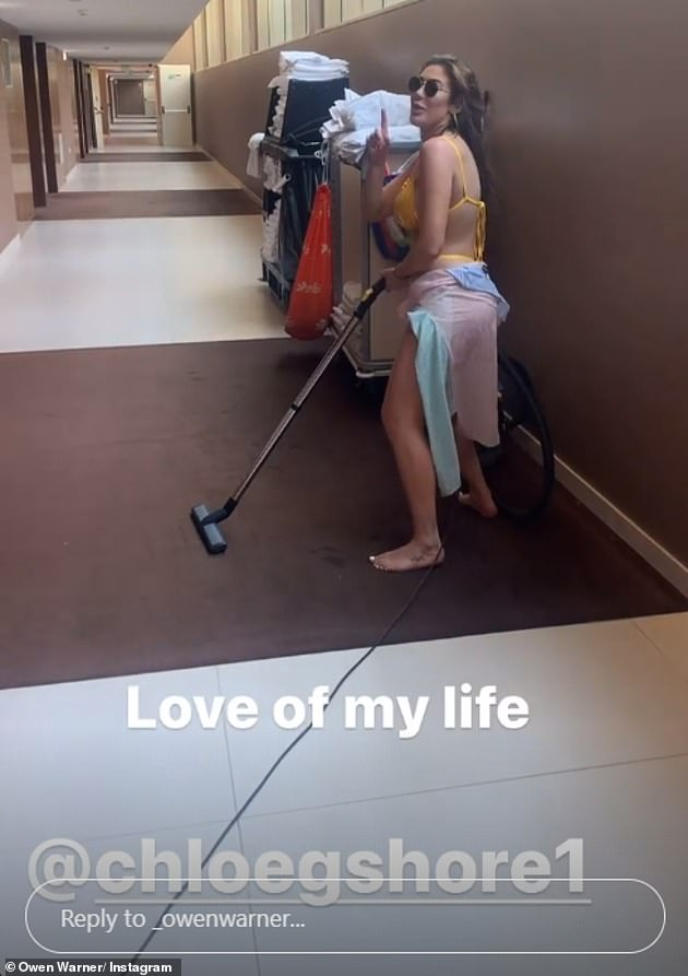 Couple? Owen also shared a video of Chloe playing around with a vacuum cleaner in a hotel corridor during their trip to Portugal as he wrote: 'Love of my life'