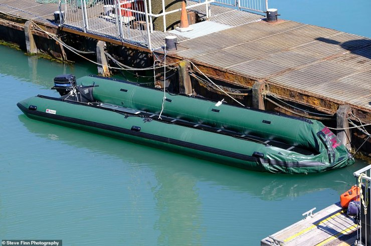 A dinghy at Dover Marina yesterday after an estimated 200 migrants were brought into shore on board a Border Force cutter