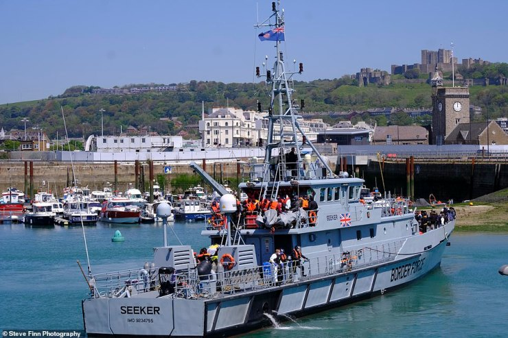 Witnesses estimate as many as 200 people were brought in to Dover Marina aboard a Border Force cutter yesterday