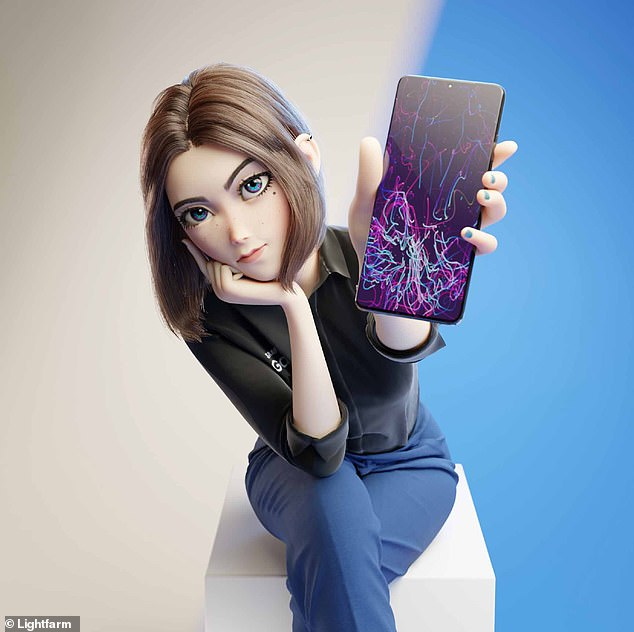 With her branded but simple attire and a Samsung Galaxy smartphone in hand, Sam looks like a Samsung employee