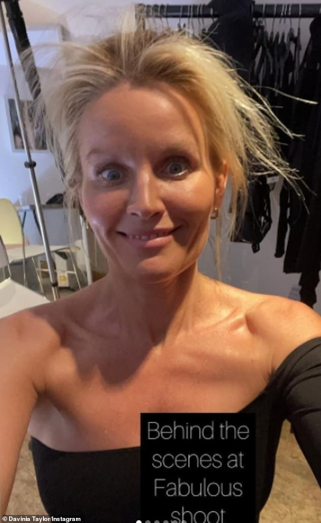 Wow:The former soap star, 43, wowed as she gave her fans a behind-the scenes look at her shoot with Fabulous magazine, with Davinia even flaunting her dishevelled blonde locks in the images