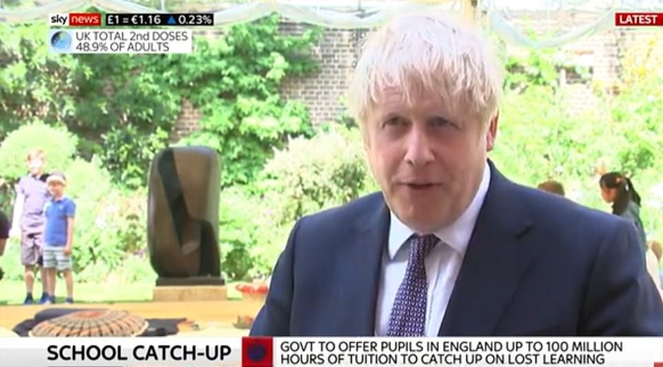 Speaking to reporters on a visit to a school today, Boris Johnson said there was still 'ambiguity' over how much protection vaccines were giving people
