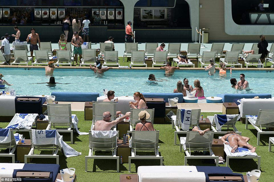 People flock to the pool at Circa Resort and Casino on Memorial Day in Las Vegas, Nevada
