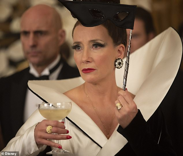 Uncanny:Emma Thompson plays the villainess of the movie Baroness Von Hellman and recently revealed the cosmetic look was partly inspired by Joan Collins