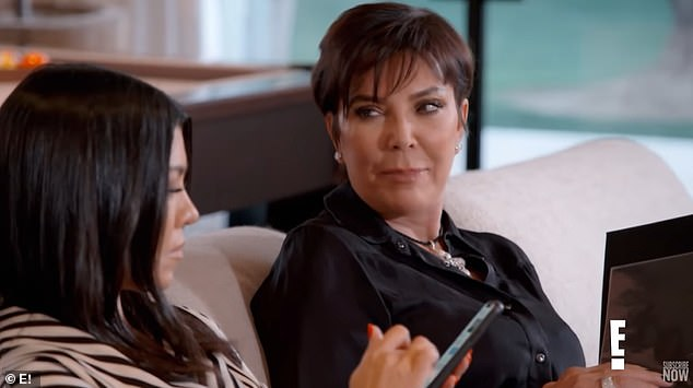 'You guys look like you're at prom': The teaser begins with the women going through a photo album when Kris stumbles upon a photo of Kourtney and Scott posing together, all dressed up