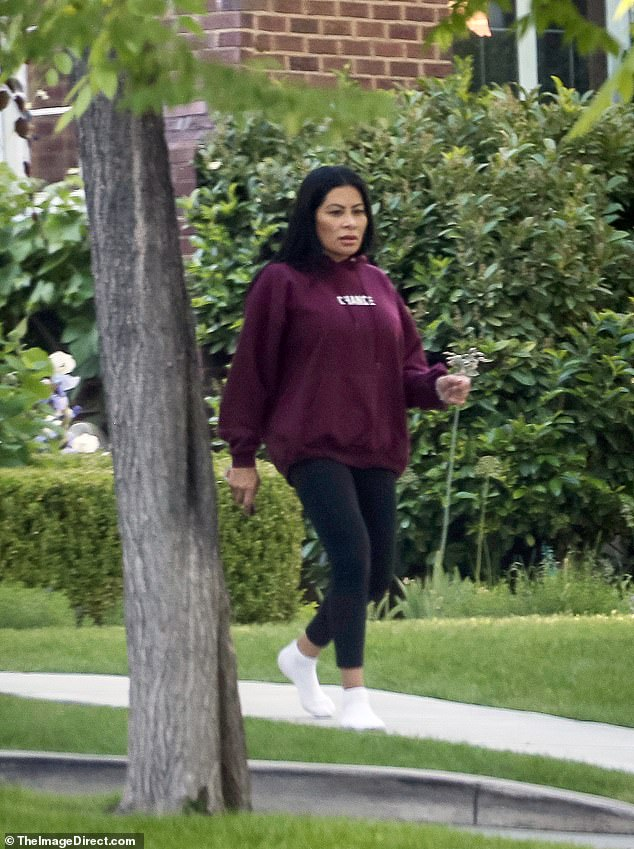 Out and about: Jen Shah was seen walking outside her Utah home on Memorial Day weekend after a family member shared a $2.5M crowdfunding campaign to help pay for her legal fees ahead of trial for a nationwide telemarketing scam