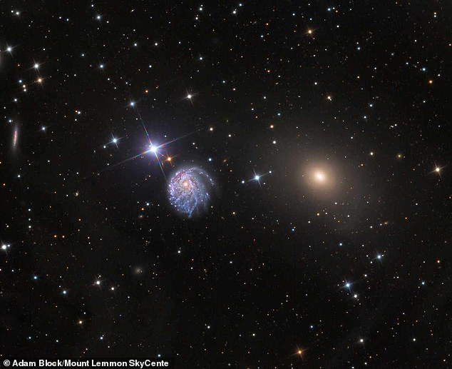This image shows a wide-field view of NGC 2276. It is being deformed by intense star formation and its neighboring galaxy, NGC 2300