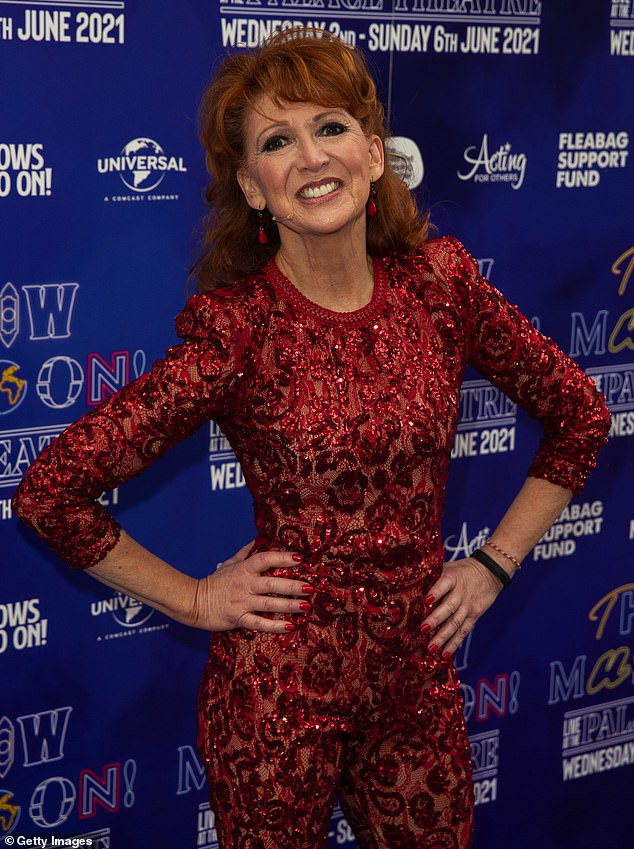Gorgeous:The star looked sensational in form-fitting one-piece as she attended a photocall ahead of in London her performance at Palace Theatre in London