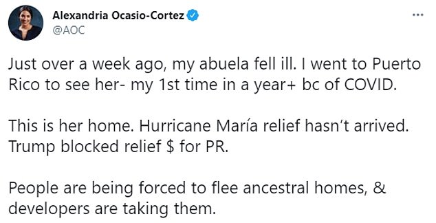 Ocasio-Cortez was slammed on Twitter on Wednesday for posting images of her grandma's falling-down house in Puerto Rico instead of giving her money to help