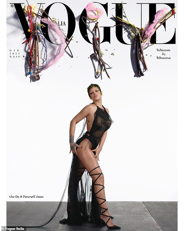 Nailed it:The star was perfectly posed with one leg out as she pulled off the outrageous outfit for the 'Do It Yourself' issue. The Barbados born beauty wore the long sheer black dress with confidence even though it exposed the pasties on her chest and her small briefs