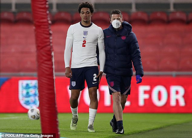 Alexander-Arnold appeared unhappy as he hobbled off the pitch in the latter stages
