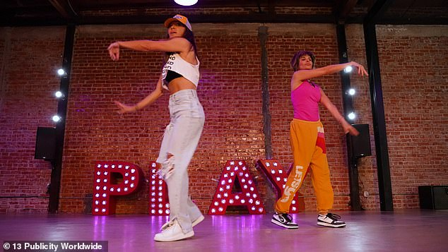 Having fun: Lisa expertly broke out into the routine alongside Antin which was filmed at her Playground LA studio