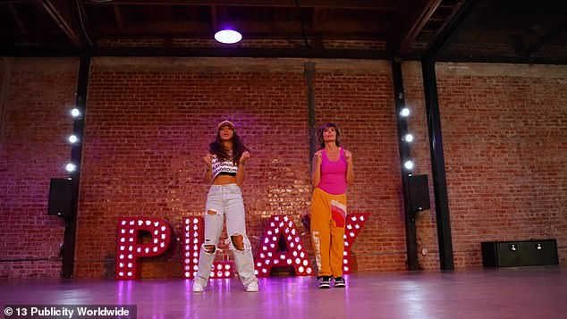 Impressive: The 57-year-old reality star rocked a hot pink tank top with sweats as she broke into the dance which Antin originally choreographed for Ross and Monica Geller for an episode on the sixth season of the classic sitcom