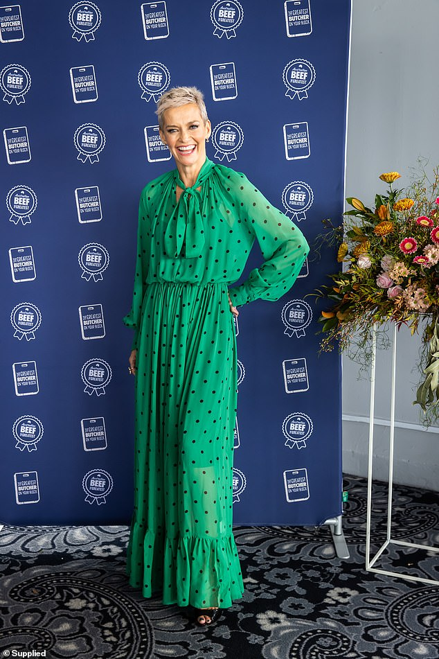She's dotty!Jessica Rowe looked resplendent in a green sheer dress as she hosted an event for Meat & Livestock Australia celebrating Aussie Beef at Pier One on Wednesday
