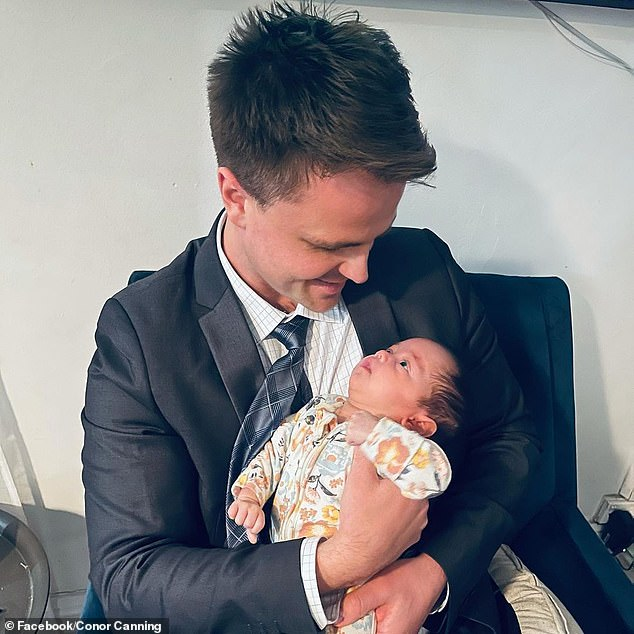 After his day in court on Wednesday, Mr Canning shared a photo to Instagram while cradling his baby daughter and said he was 'disappointed' in himself