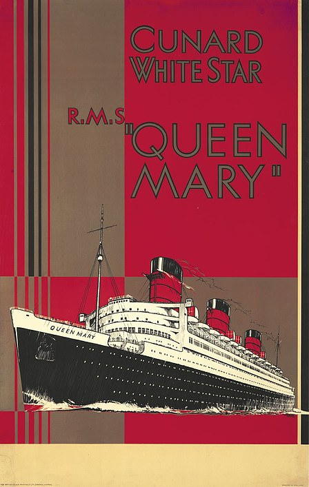 A 1936 poster for the Queen Mary