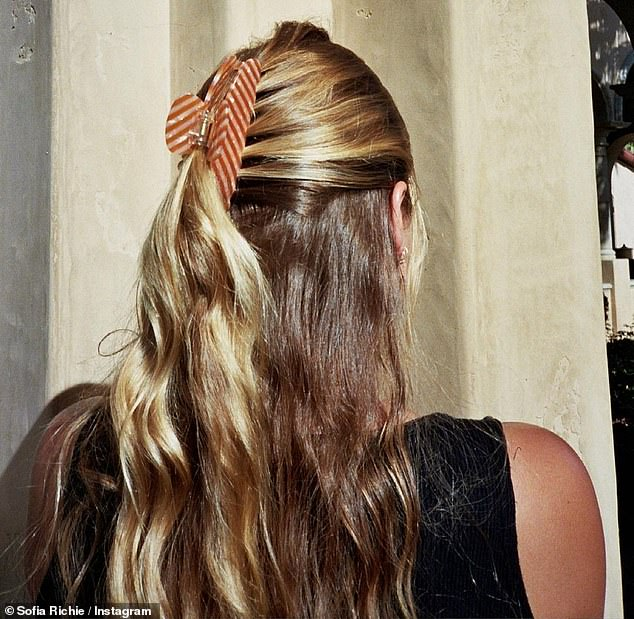 Scenic views: One of the Instagram figure's photos showed what her gorgeous blonde hair looked like while being held by a clip