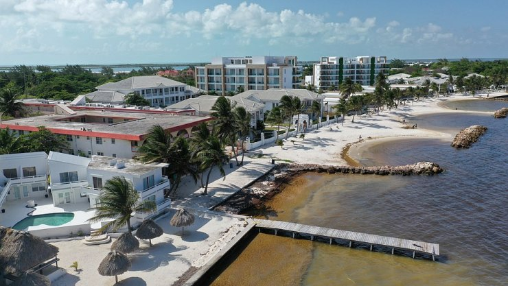 The scene of the incident at Mata Rocks Alaia Resort San Pedro in Belize. At the end of the pier is the victim's blood