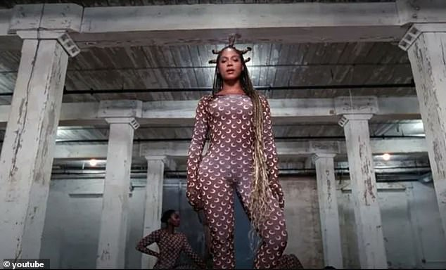 Famous fans:One of Marine Serre's signature pieces - the the crescent moon catsuit - was worn by Beyoncé in her film Black Is King (pictured)