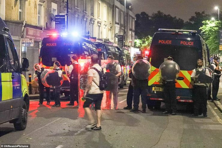 BRIXTON: Later in the evening, dozens of riot police descended on Brixton after officers were attacked by a large group of men while attending the scene of a shooting and stabbing around 9.35pm