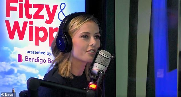 Yikes! Today host Allison Langdon has revealed she is still in pain almost four months after badly injuring her leg in a hydrofoiling accident. Pictured on Fitzy and Wippa on Thursday