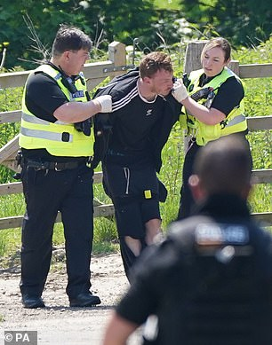 Pictures showed Boulton being arrested by two police officers