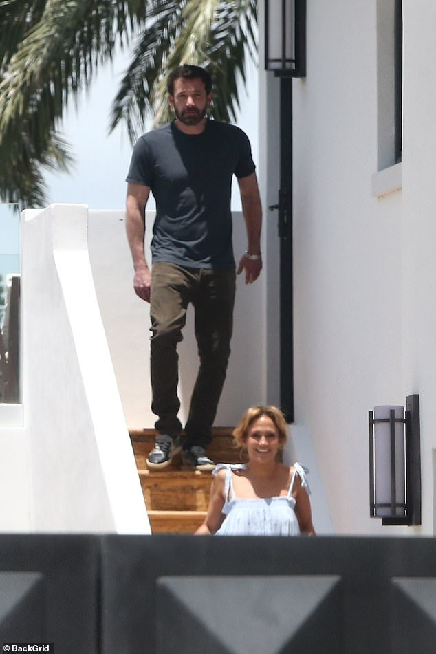 Getaway:Most recently, Ben joined Jennifer at her rental home in Miami, Florida where they were seen hanging out on the balcony and hitting up the gym together; Ben and Jennifer pictured on May 23