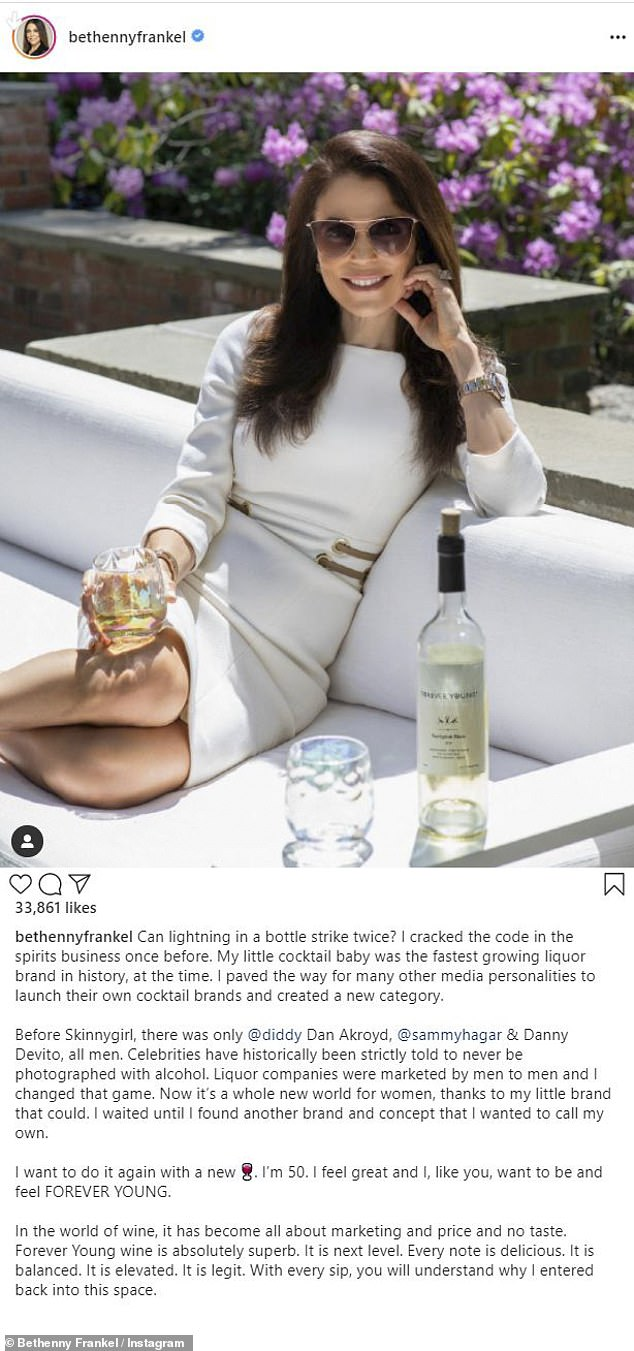 The latest: Bethenny Frankel, 50, on Wednesday to Instagram to announce her new business venture, a wine called Forever Young
