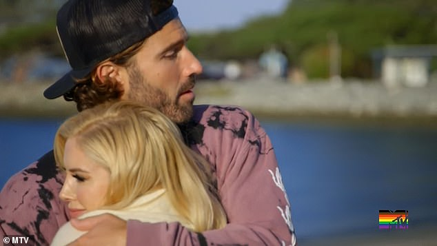 Big hug:Heidi stopped by Brody's room the next day to apologize for 'over stepping her boundaries' the previous evening. 'I'm not trying to get in your relationship,' Heidi said to Brody