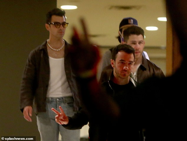 Trio:Nick, 28, Joe, 31, and Kevin, 33, were spotted leaving the filming venue in the evening with a group of crew members