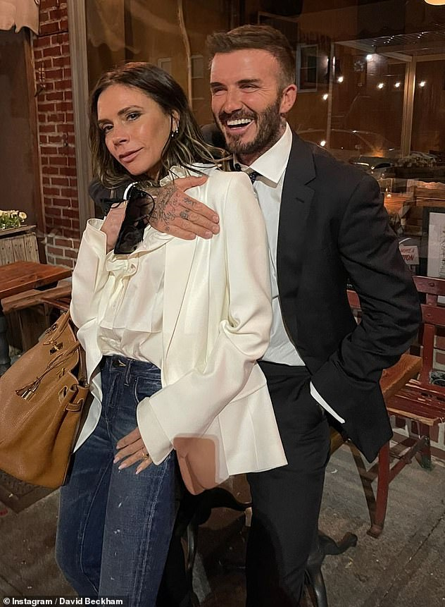 Loved-up: David and Victoria married in1999 and often share cosy snaps to social media