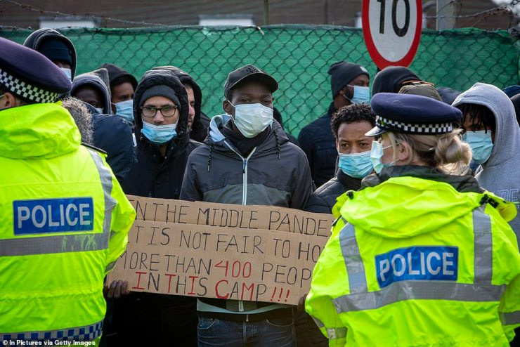 Asylum seekers kept at Napier Barracks in Folkestone have repeatedly protested over the 'appalling' standards inside the former army camp