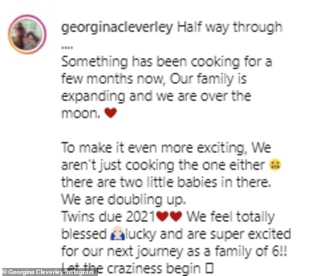 Amazing:The former TOWIE star penned a lengthy caption as she shared the news with her Instagram followers