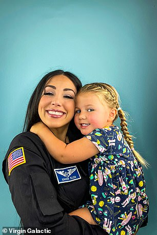Travelling up to almost 60 miles above the surface of the Earth, the very edge of space, will give Gerardi her astronaut wings, and she told MailOnline her three year old daughter was excited that 'mummy is going to be an astronaut'