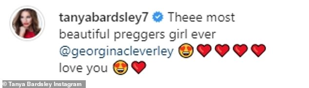 Delightful: Her friend shared photos of their trip to Instagram and wrote: 'Theee most beautiful preggers girl ever @georginacleverley ¿¿¿¿¿¿¿¿ love you ¿¿' (sic)
