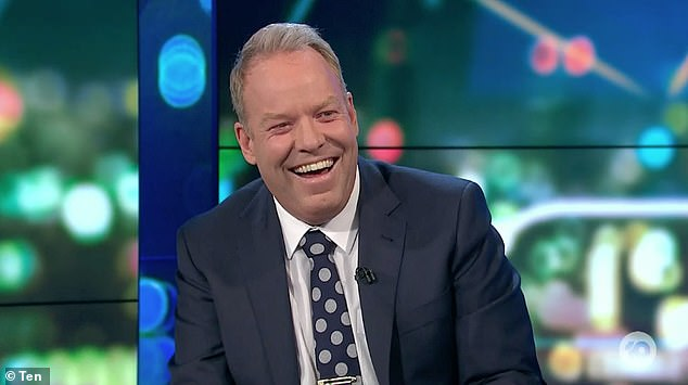 Laughing it off: After registering her joke, a good-humoured PeteHelliar burst out laughing and added: 'She's back! You had two seconds off!'