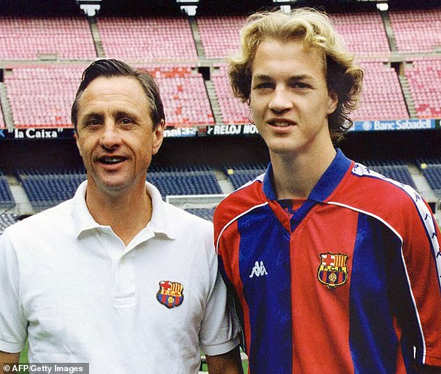Jordi (right) spent two years in the Barcelona first-team when his father Johan (left) was boss