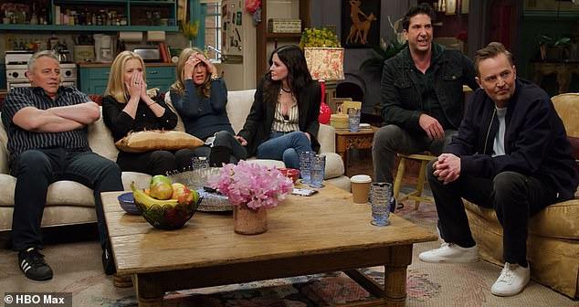Looking back:All six of the main cast - (from left) Matt LeBlanc, Lisa Kudrow, Jennifer Aniston, Courteney Cox, David Schwimmer and Matthew Perry - got together for the reunion special