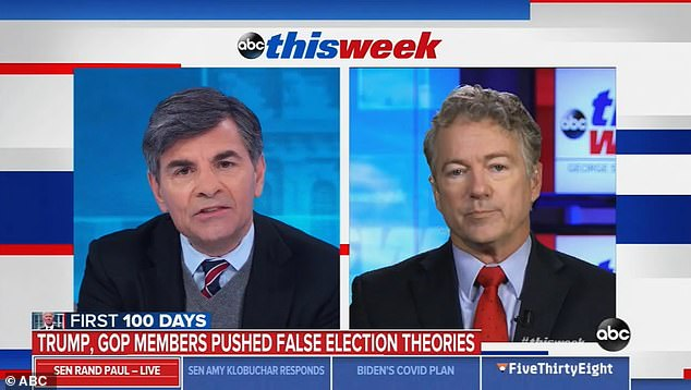 At work: Senator Rand Paul argues with Stephanopoulos on ABC's This Week in January