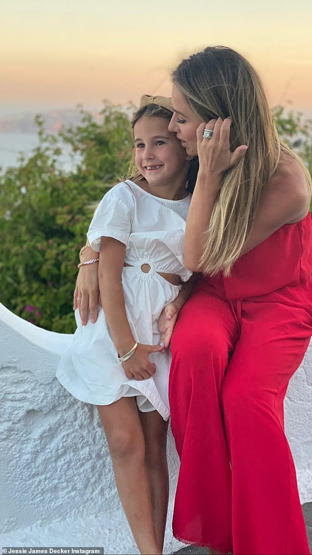 That's her girl: In photos posted to her Instagram account, the Deckers took snaps with their children as they explored the stunning town