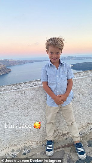 'This face': Decker gushed over this precious snap of her son