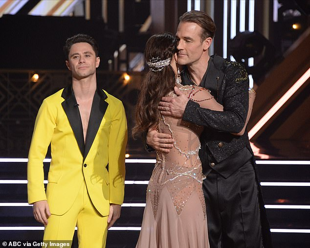 Hard times:Ally told her former partner Sasha Farber during her show that James was the better dancer. 'He was the one to watch during the season because he always performed beautifully,' she maintained