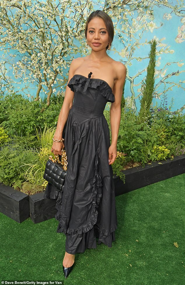 Wow:Also stepping out in west London on Thursday was Emma Weymouth, who turned heads in a stunning sleeveless gown
